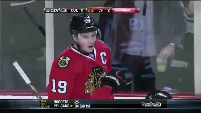 Jonathan Toews converts on Stastny's turnover
