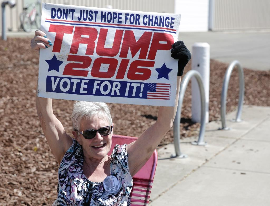 A supporter at a campaign stop for US Republican presidential candidate Donald Trump in Lynden, Washington, on May 7, 2016