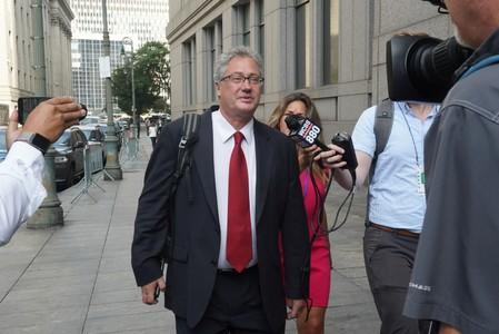 Attorney Jeffrey S. Pagliuca, lawyer for Ghislaine Maxwell leaves Manhattan Federal Court following a hearing in a defamation lawsuit filed by one of Jeffrey Epstein's alleged victims, Virginia Giuffre, in New York
