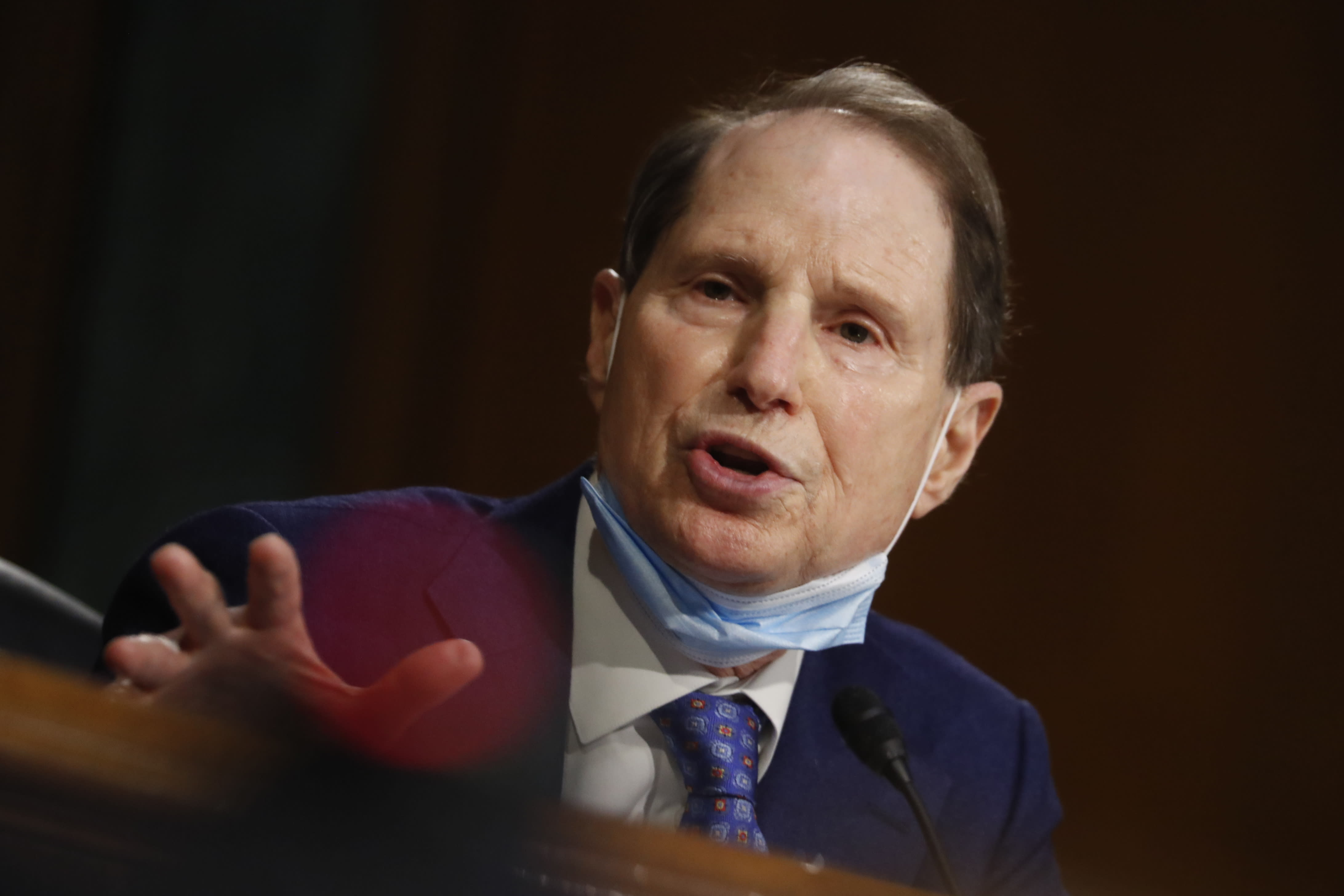 Sen. Ron Wyden, D-Ore., speaks during a Senate Intelligence Committee nomination hearing for Rep. John Ratcliffe, R-Texas, on Capitol Hill in Washington, Tuesday, May. 5, 2020. The panel is considering Ratcliffe's nomination for director of national intelligence. (AP Photo/Andrew Harnik, Pool)