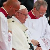 Pope Francis uninjured after fall during Mass in Poland