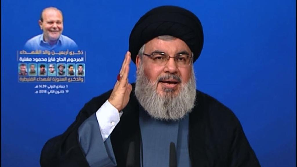 Hassan Nasrallah, the head of Lebanon's militant Shiite movement Hebnollah, gives a televised address from an undisclosed location