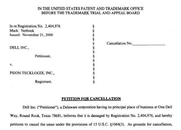 """Dell files to strip """"netbook"""" of trademark status"""