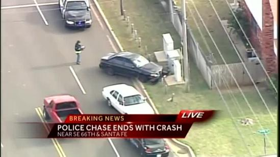 Police chase ends with crash in SE OKC