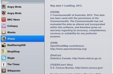 OpenStreetMap gets acknowledged in iPhoto credits