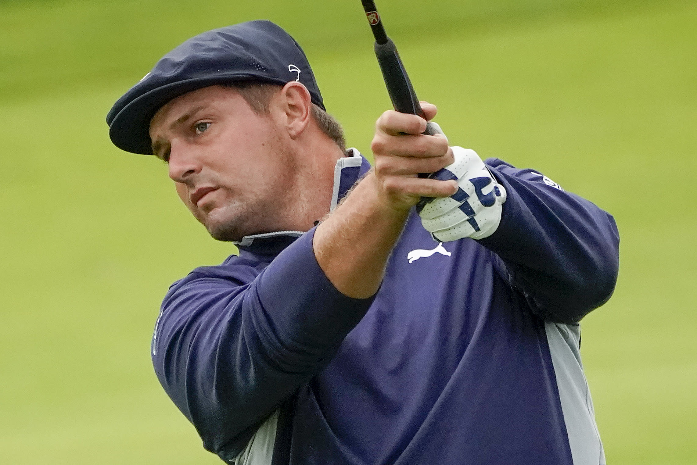 Bryson DeChambeau, of the United States, plays a shot off the 12th fairway during the second round of the US Open Golf Championship, Friday, Sept. 18, 2020, in Mamaroneck, N.Y. (AP Photo/Charles Krupa)