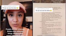 A bride-to-be went viral on TikTok after sharing a letter to her bridesmaids detailing 'mandatory' wedding commitments