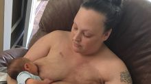 'Never be ashamed of a scar': Cancer survivor's post-mastectomy breastfeeding photo goes viral