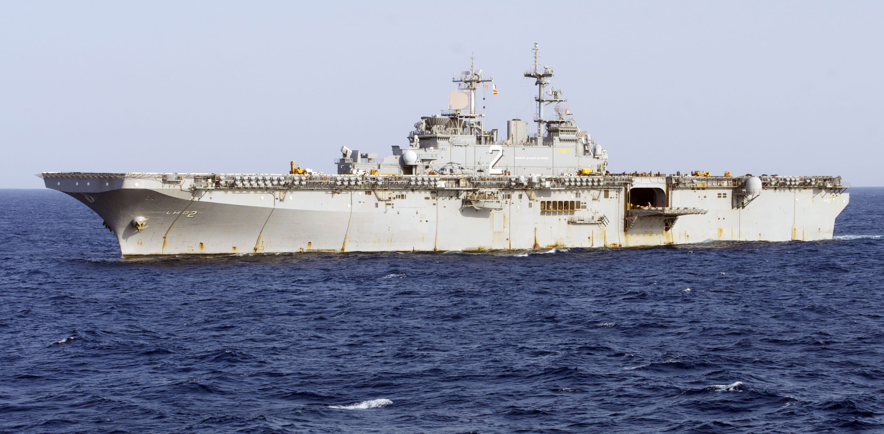 This undated image provided by the U.S. Navy shows the amphibious assault ship USS Essex underway in the Pacific Ocean. The Essex and a refueling tanker, the USNS Yukon, collided in the Pacific Ocean on Wednesday May 16,2012, but there were no injuries and no fuel spills, the 3rd Fleet said. (AP Photo/U.S. Navy, Senior Chief Mass Communication Specialist Joe Kane)