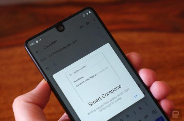 Gmail Smart Compose finally ventures beyond the Pixel 3