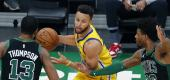 The Golden State Warriors' Stephen Curry during Saturday's game against the Boston Celtics. (AP)