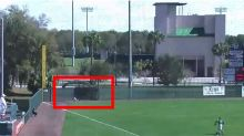 This outfielder ran through a wall but still gave up an inside-the-park grand slam