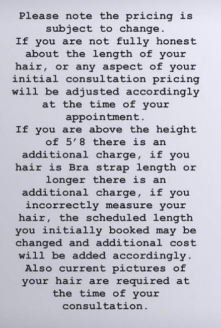 Hairdresser's bizarre extra charges go viral