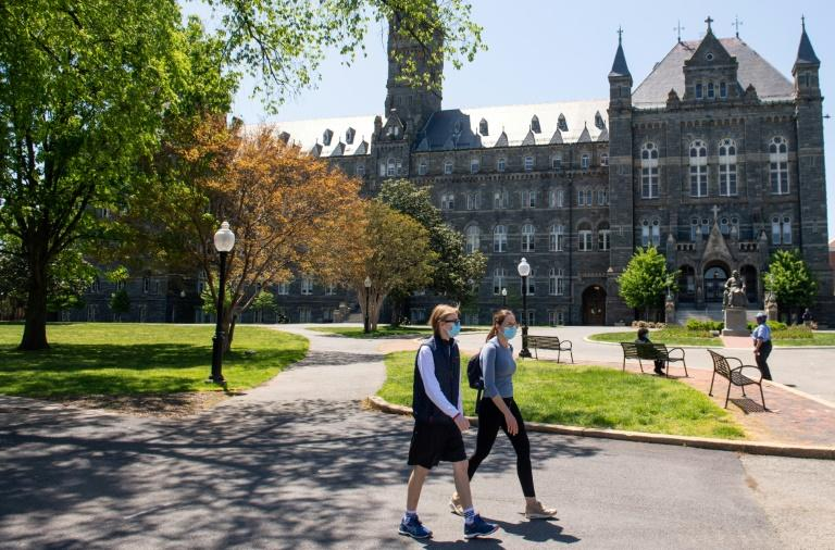 Georgetown University, in the US capital, has many foreign students who could be affected by the new government rules (AFP Photo/SAUL LOEB)