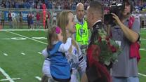 Soldier surprises wife at Detroit Lions game
