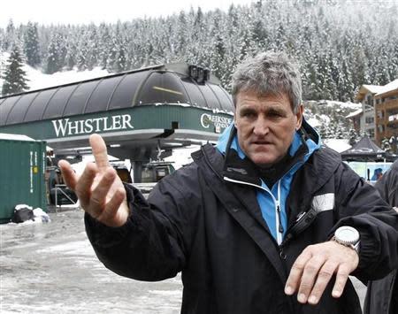 FIS race director Hujara talks to reporters in Whistler