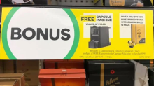 Shoppers freak out over free $99 coffee machine at Woolies