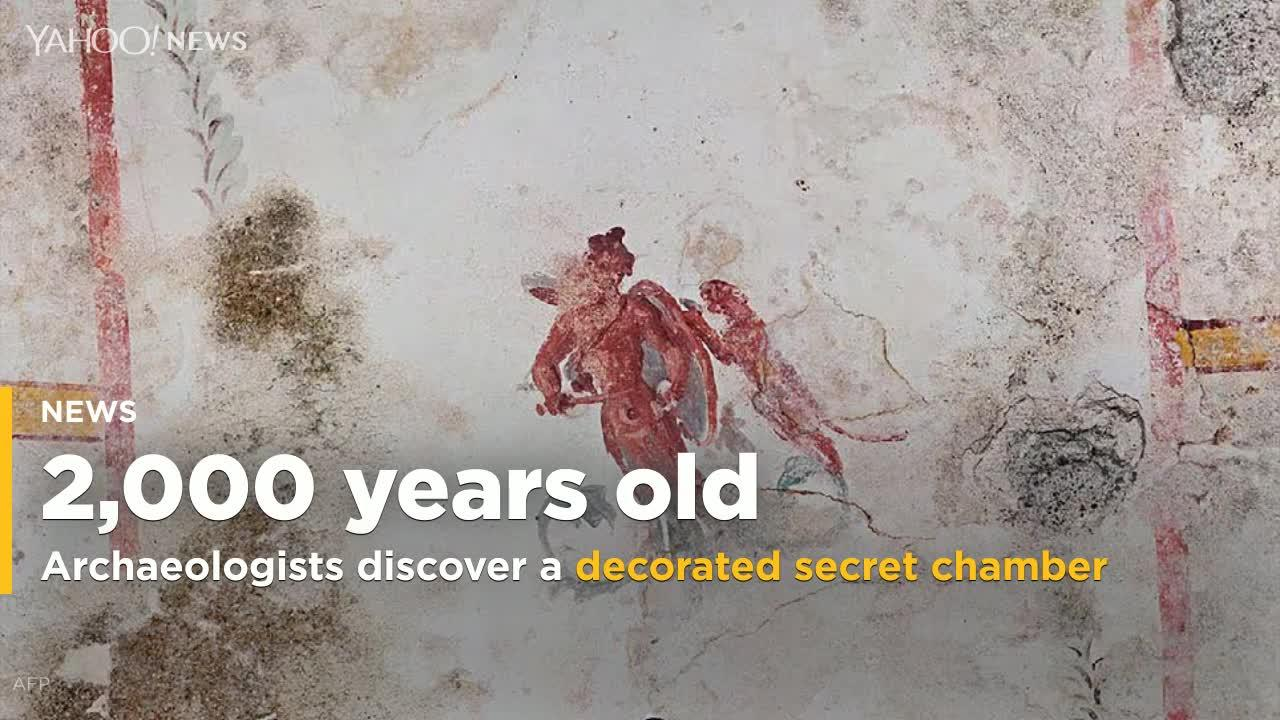 Archaeologists discover a secret chamber decorated with detailed frescoes built almost 2000 years ago