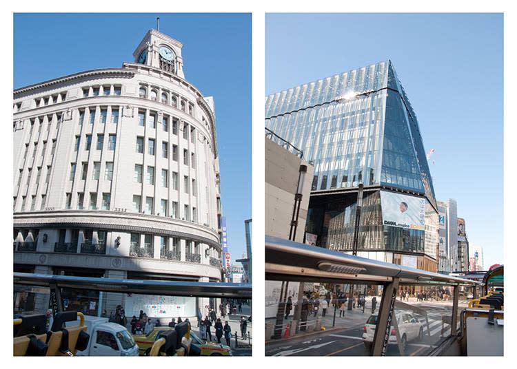 左 昔日以銀座指標、位於銀座4丁目十字路口的和光大廈。通過十字路口時便能在右側找到它的身影。 右 銀座的新指標東急PLAZA銀座。以東京傳統的玻璃藝術江戶切子為概念的建築物,搭乘巴士時往左手邊就能看到。