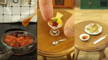 Japanese YouTuber cooks edible miniature foods using miniature cooking equipment
