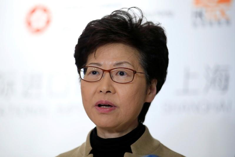 Hong Kong's Chief Executive Carrie Lam attends a news conference ahead of a Hong Kong Chamber of Commerce dinner in Shanghai