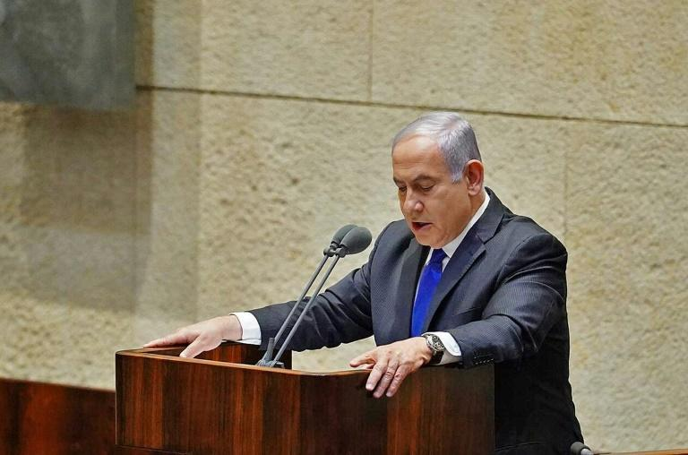 A picture provided by the Israeli Knesset shows Prime Minister Benjamin Netanyahu speaking ahead of the swearing-in of a unity government (AFP Photo/-)