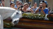 Conmovedor: este caballo hizo llorar a todos en el funeral de su jinete