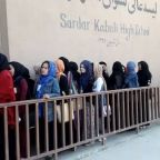 Women Wait in Line in Kabul to Vote in Parliamentary Elections