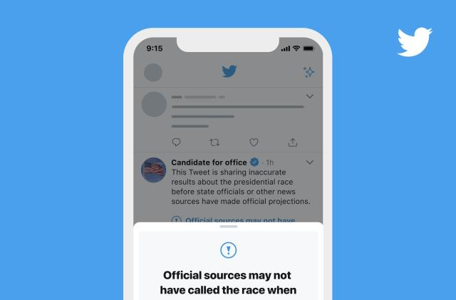 Twitter will add warning labels to tweets with premature election results