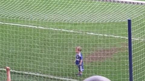Crowd Goes Wild After Baby Scores Goal!