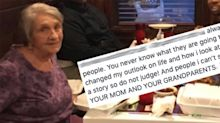 Young man's kind gesture for widow eating alone