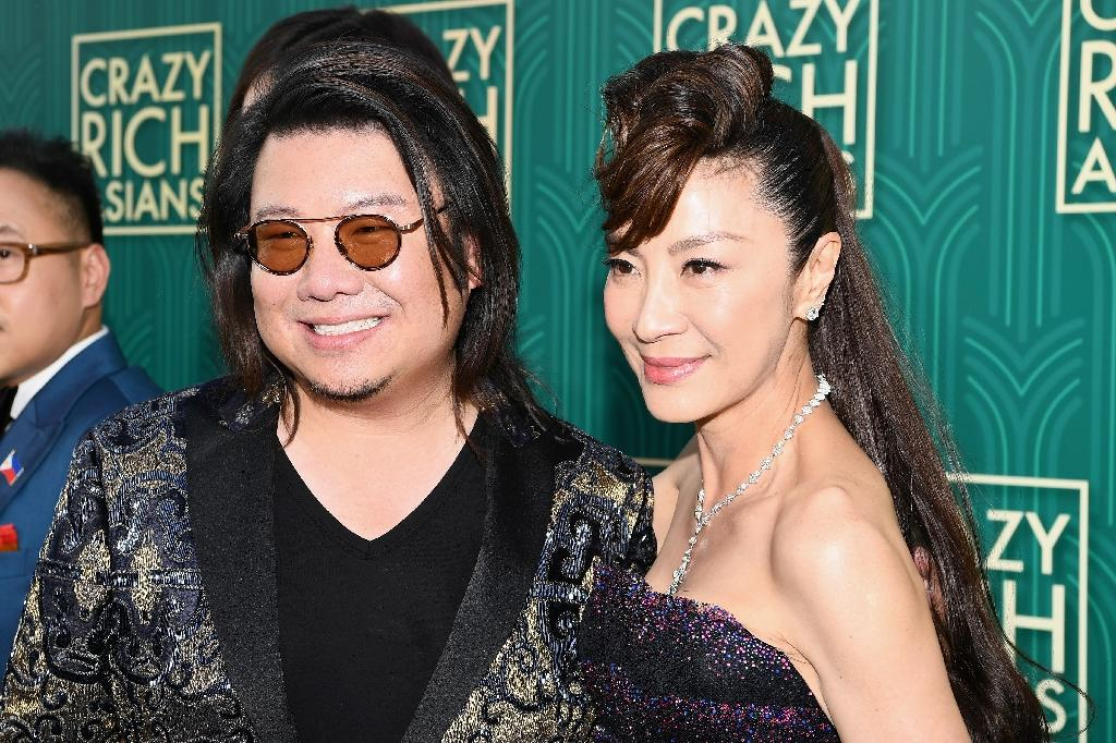 "Author Kevin Kwan and actor Michelle Yeoh at the US premiere of ""Crazy Rich Asians"""