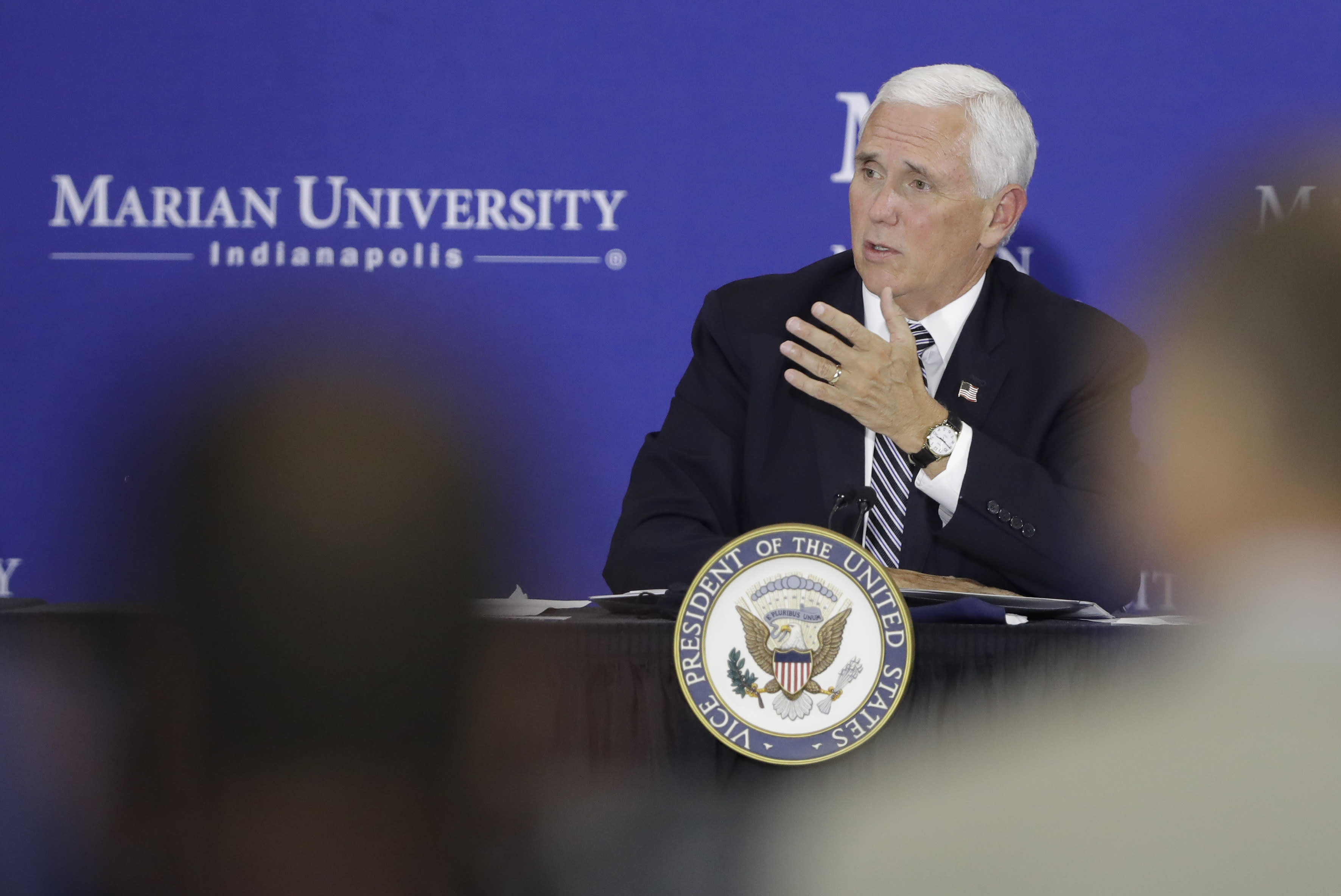 Vice President Mike Pence speaks during a meeting with higher education leaders on safely reopening schools, Friday, July 24, 2020, in Indianapolis. (AP Photo/Darron Cummings)