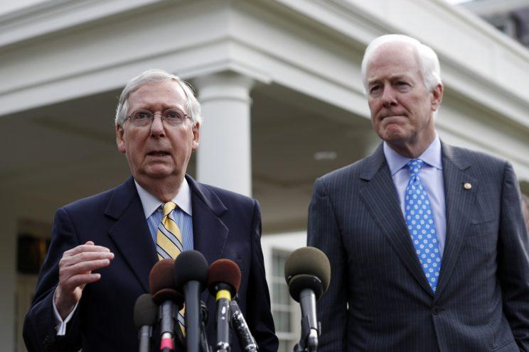 Senate Majority Leader Mitch McConnell of Ky., left, and Senate Majority Whip Sen. John Cornyn, R-Texas, speak with the media after they and other Senate Republicans met with President Donald Trump at the White House, Tuesday, June 27, 2017, in Washington.