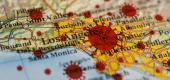 COVID-19 illustration featuring map of California. (Getty images)