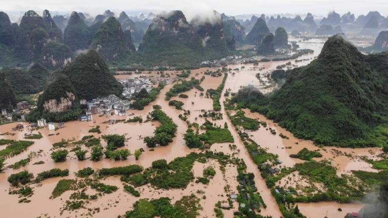 Heavy rain caused flooding in the popular tourist destination of Yangshuo