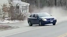 Driver loses control during police chase and crashes into trio of parked cars