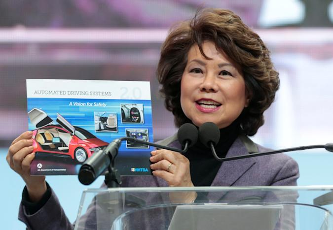 U.S. Secretary of Transportation Elaine Chao speaks ahead of Press Days of the North American International Auto Show at Cobo Center in Detroit, Michigan, U.S., January 14, 2018.   REUTERS/Rebecca Cook