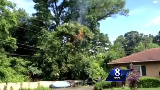 Raw video: Utility wires on fire in York County