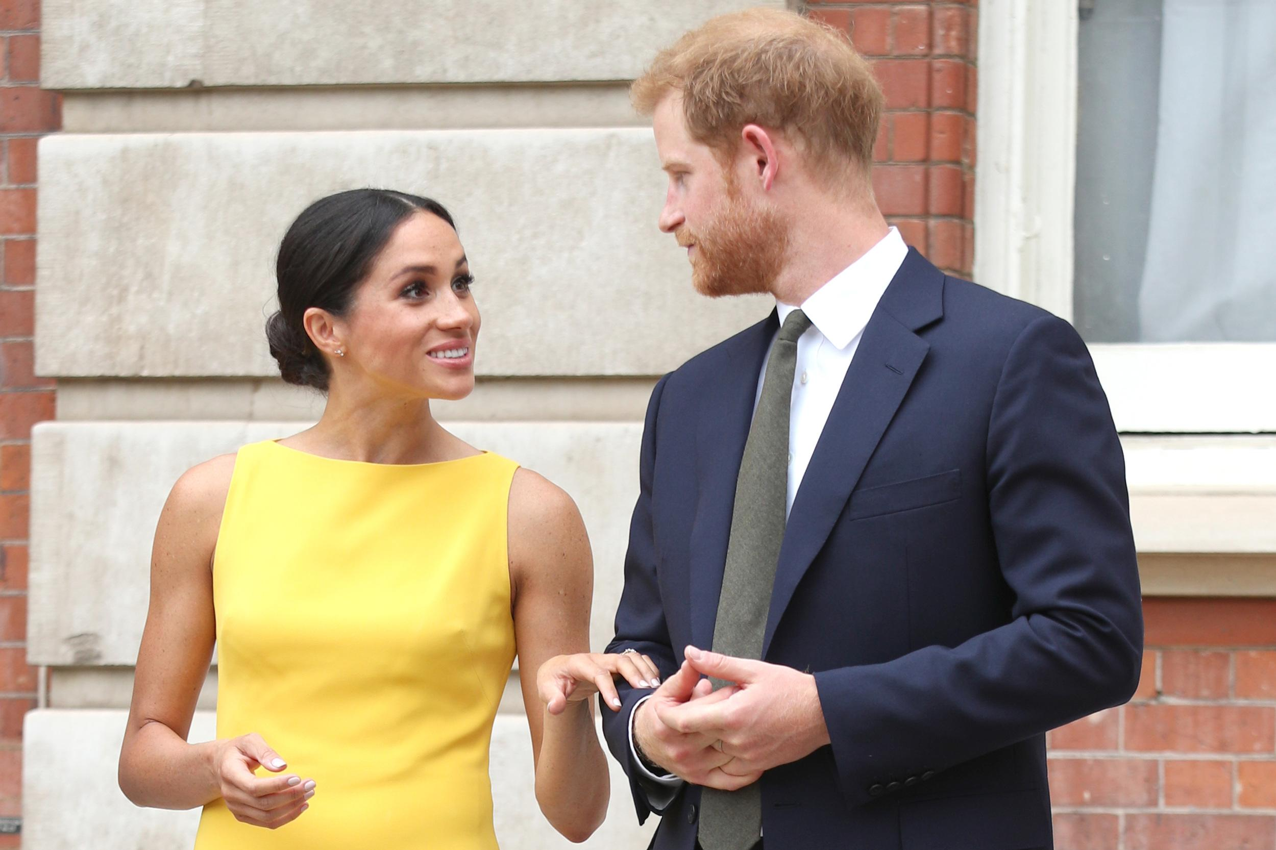 The Duke and Duchess of Sussex arrive to meet youngsters from across the Commonwealth as they attend the Your Commonwealth Youth Challenge reception at Marlborough House in London.
