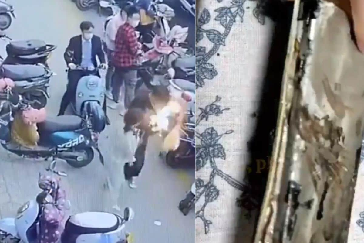 Watch: Shocking Video Shows Mobile Phone Catching Fire Inside Man's Bag in China