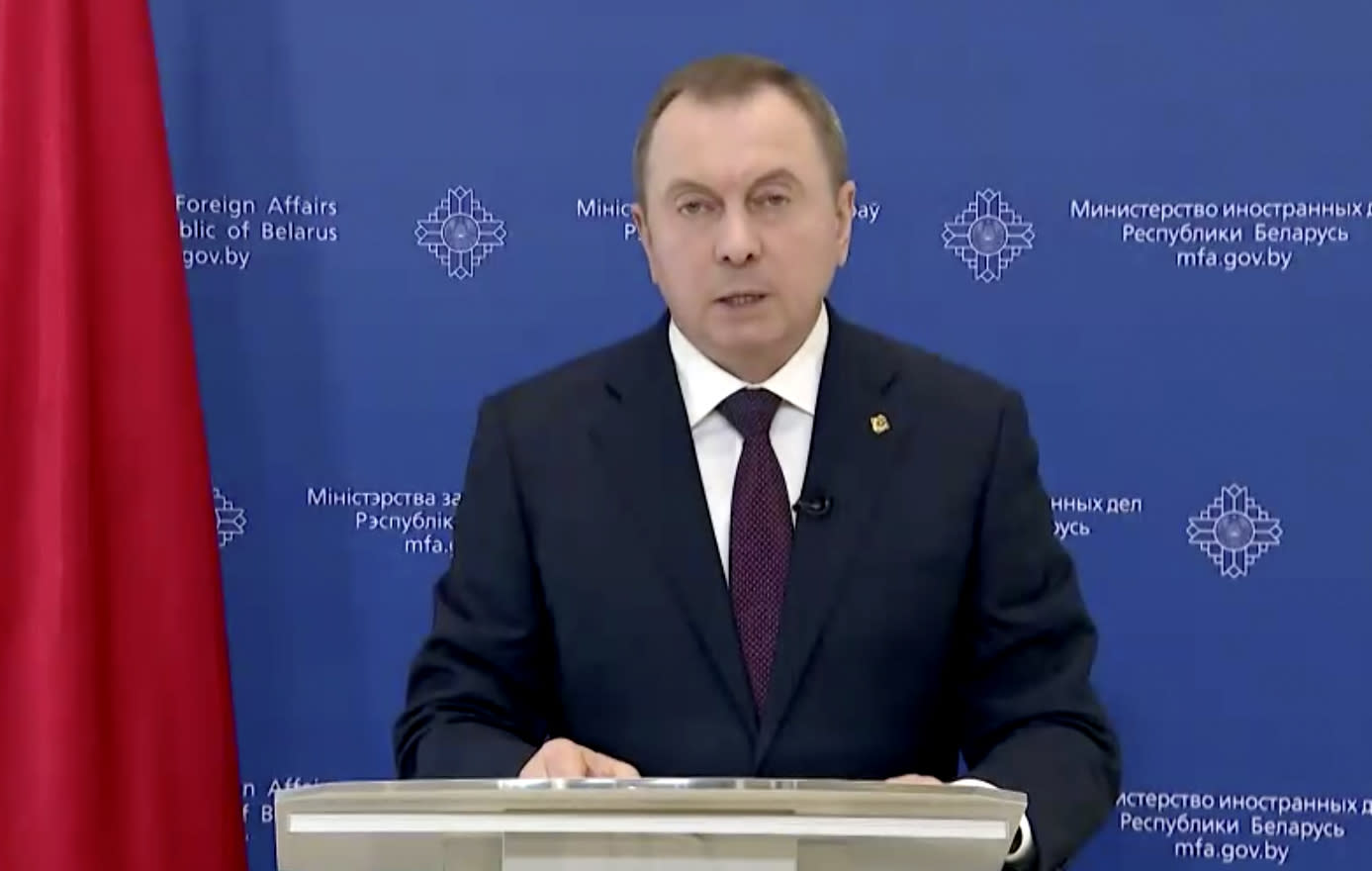 In this image made from UNTV video, Vladimir Vladimirovich Makei, the foreign minister of Belarus, speaks in a pre-recorded message which was played during the 75th session of the United Nations General Assembly, Saturday, Sept. 26, 2020, at U.N. headquarters. (UNTV via AP)