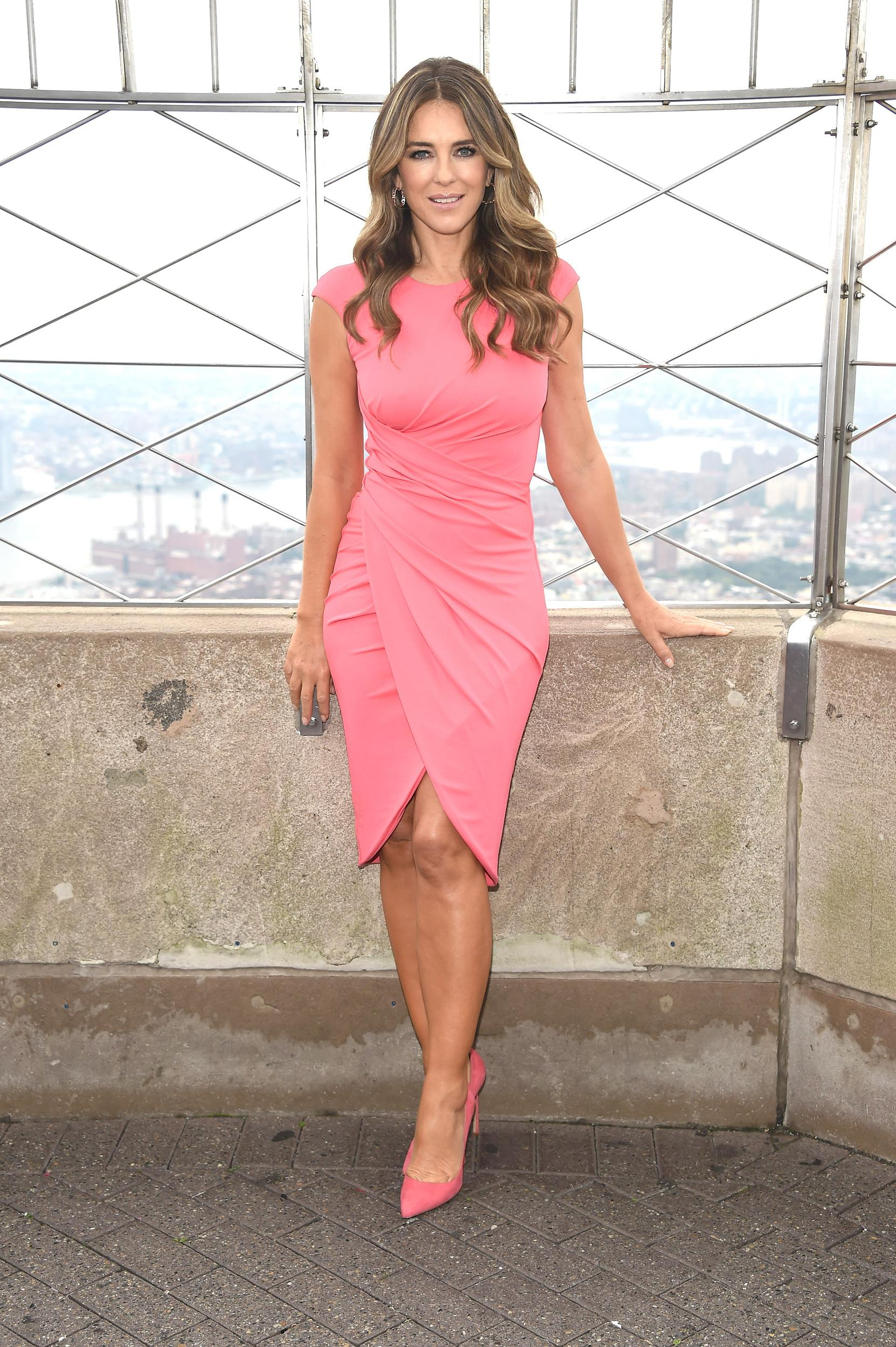 NEW YORK, NY - OCTOBER 01:  Global Ambassador Elizabeth Hurley visits The Empire State Building on behalf of the Estee Lauder Companies' Breast Cancer Campaign at The Empire State Building on October 1, 2018 in New York City.  (Photo by Gary Gershoff/WireImage)