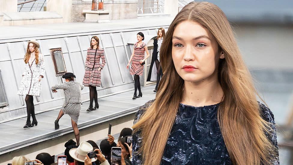 Gigi Hadid strong-arms Chanel catwalk-crasher