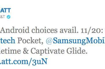 Samsung Captivate Glide, Doubletime and Pantech Pocket join AT&T's Android brigade on November 20th