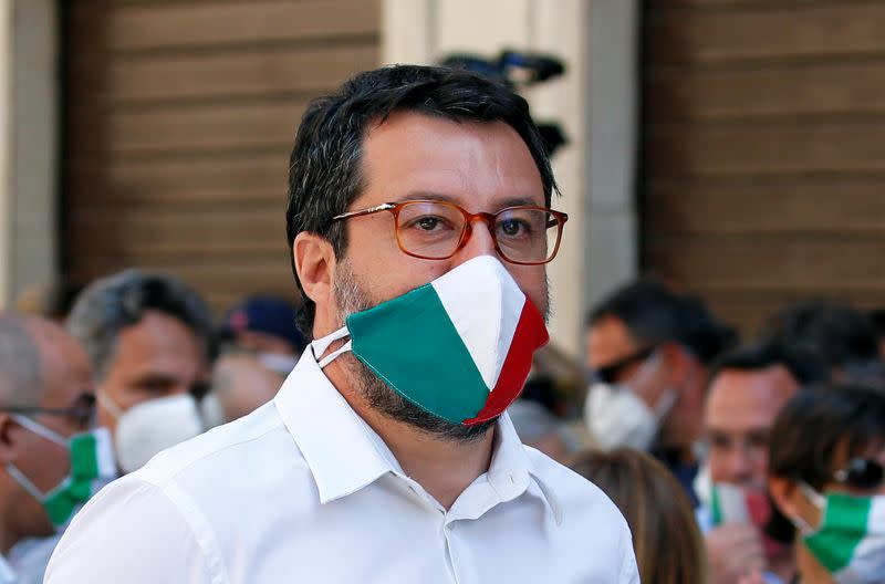 FILE PHOTO: Protest against the government of Prime Minister Giuseppe Conte in Rome