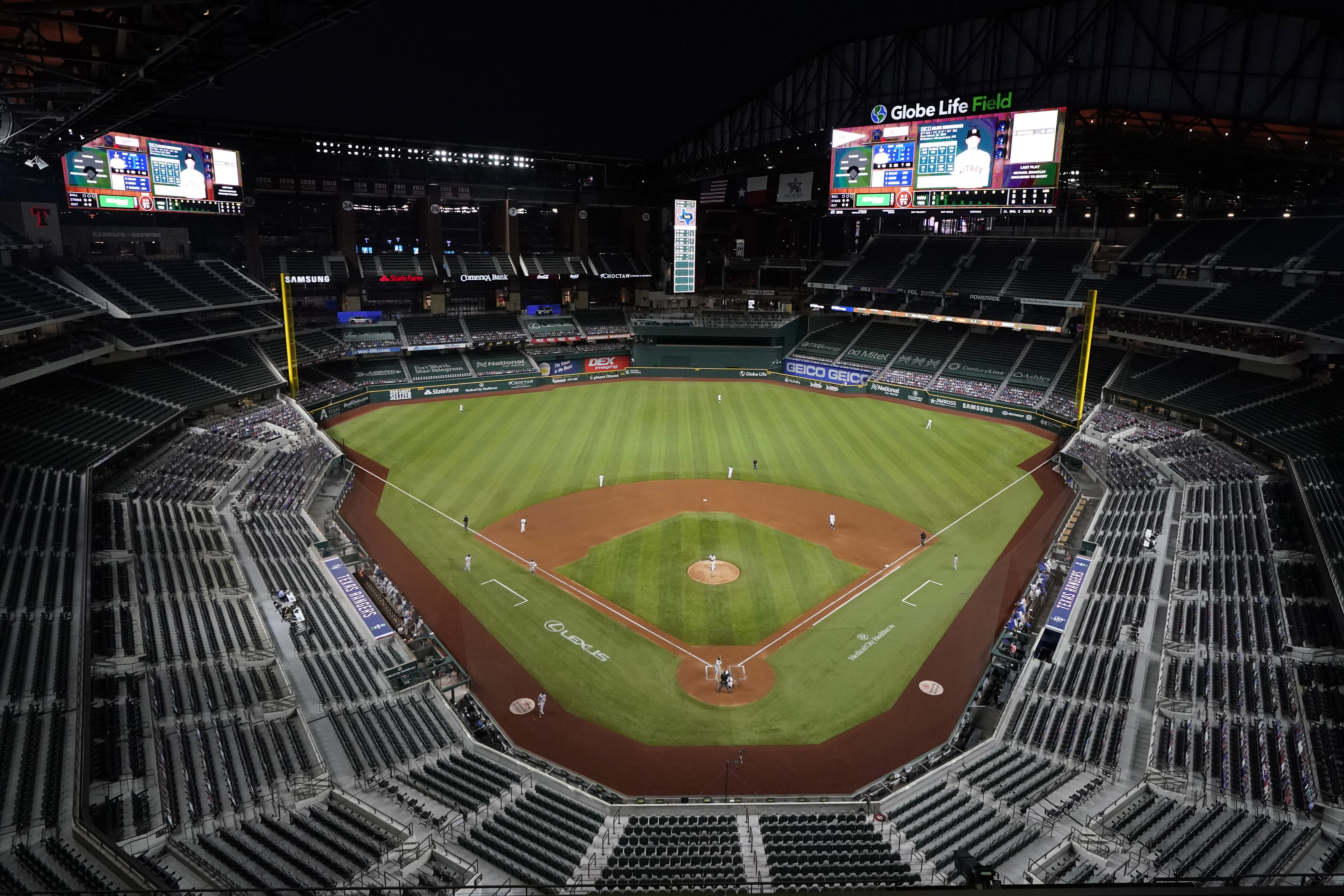 The Houston Astros play the Texas Rangers in the second inning of a baseball game at Globe Life Field in Arlington, Texas, Thursday, Sept. 24, 2020. (AP Photo/Tony Gutierrez)