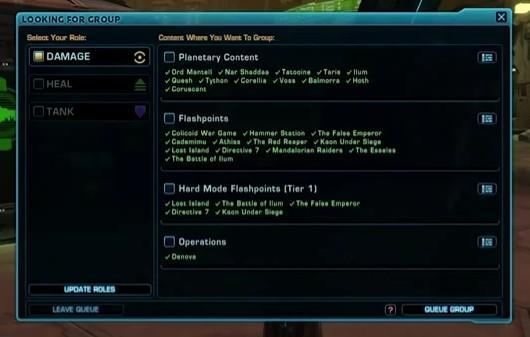 SWTOR patch 1.3 bringing group finder, legacy perks