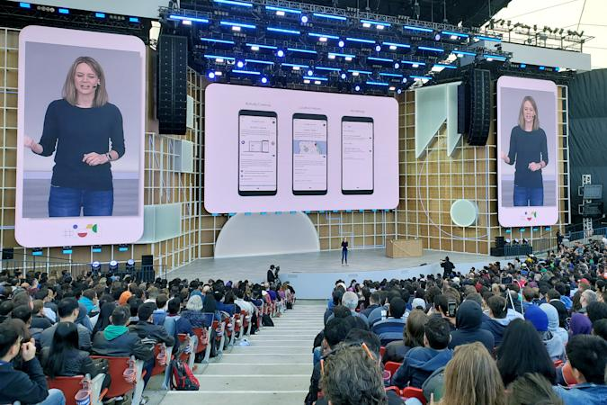 Stephanie Cuthbertson, senior director of Android at Google, discusses the mobile operating system during the Google I/O developers conference in Mountain View, California, U.S. May 7, 2019.  REUTERS/Paresh Dave