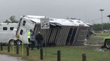 Horse Trailer Toppled by Winds Pulled Upright at Oklahoma City Fairgrounds